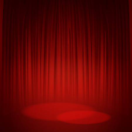 classical theater: Theater stage with red curtain