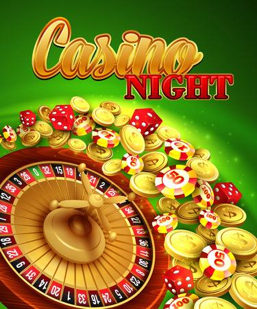 poker chips: Casino night Illustration with roulette