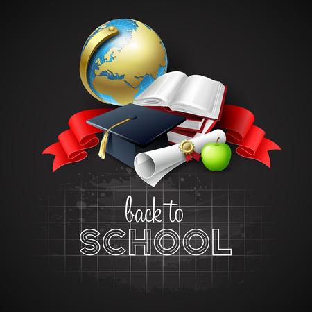 学校の背景に戻るベクトル図  イラスト・ベクター素材