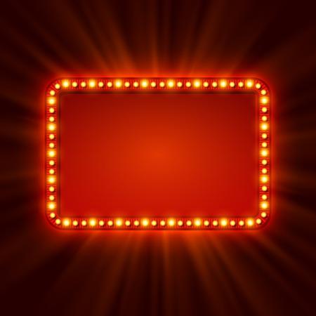 letrero: Luminoso bandera luz retro. Ilustración vectorial Vectores