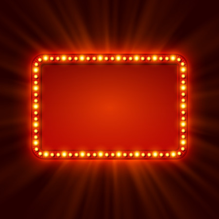 at the theater: Shining retro light banner.  Vector illustration