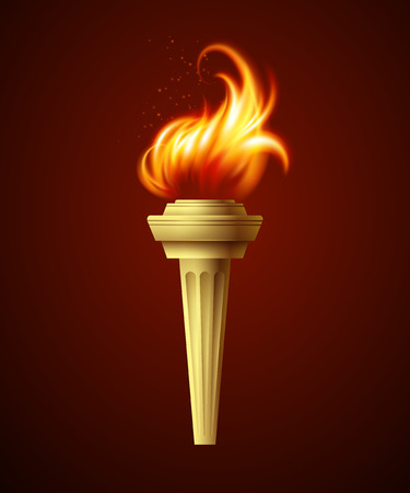 flames background: Realistic fire torch. Vector illustration