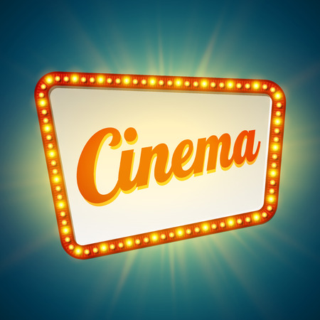 theatre symbol: Shining retro light banner.  Vector illustration