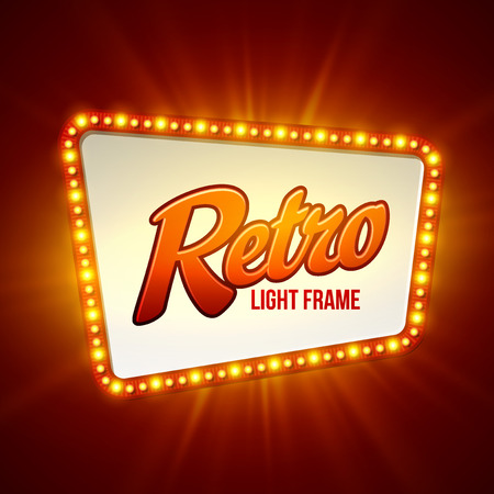 teatro: Luminoso bandera luz retro. Ilustración vectorial Vectores