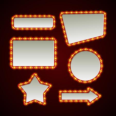 bombillo: Conjunto de bastidores de luz retro. Ilustración vectorial