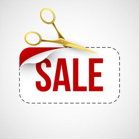 cut price: Price cut Gold scissors. Vector illustration
