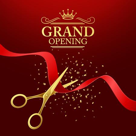 Grand-illustration d'ouverture avec un ruban rouge et des ciseaux d'or