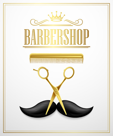 hair style: Poster Barbershop welcome. Vector Illustration