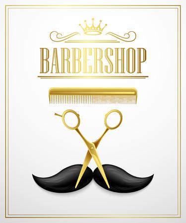 barbershop: Poster Barbershop welcome. Vector Illustration