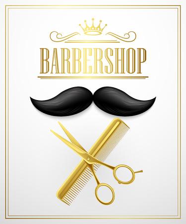 Cartel Barbershop bienvenida. Ilustración vectorial