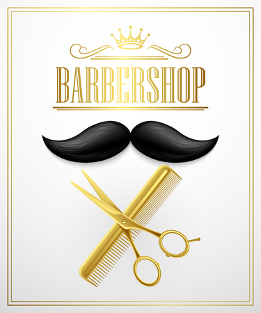 cuts: Poster Barbershop welcome. Vector Illustration