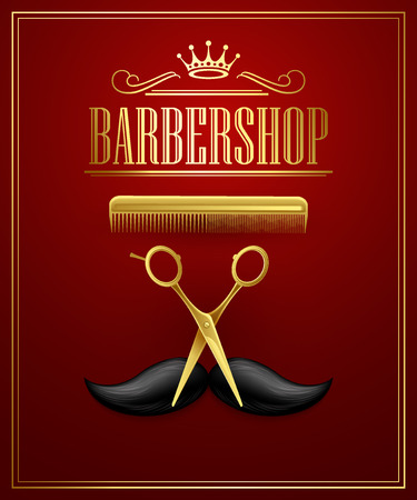 shave: Poster Barbershop welcome. Vector Illustration
