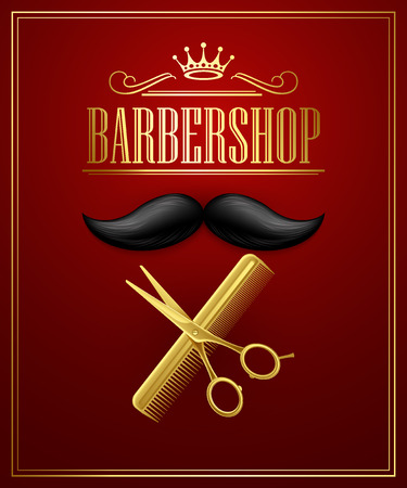 scissors icon: Poster Barbershop welcome. Vector Illustration