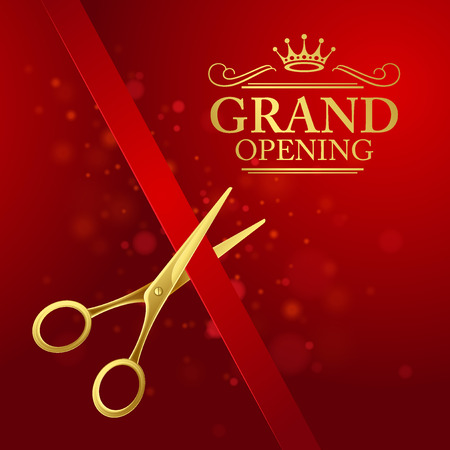 opening: Grand opening illustration with red ribbon and gold scissors