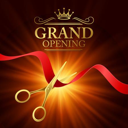 Feierliche Eröffnung Illustration mit roter Schleife und Gold Schere Standard-Bild - 42812752
