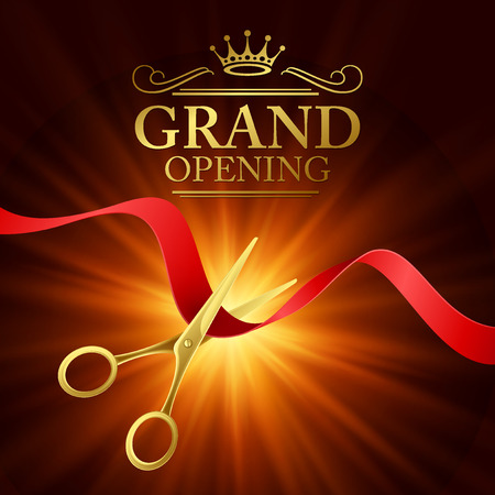 Grand opening illustration with red ribbon and gold scissors Reklamní fotografie - 42812752