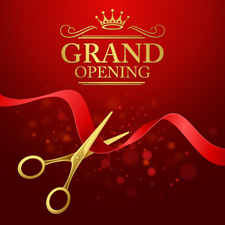 open: Grand opening illustration with red ribbon and gold scissors