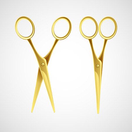 scissors icon: Gold scissors isolated in white background. Vector illustration