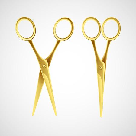Złote nożyczki samodzielnie w białym tle. ilustracji wektorowych