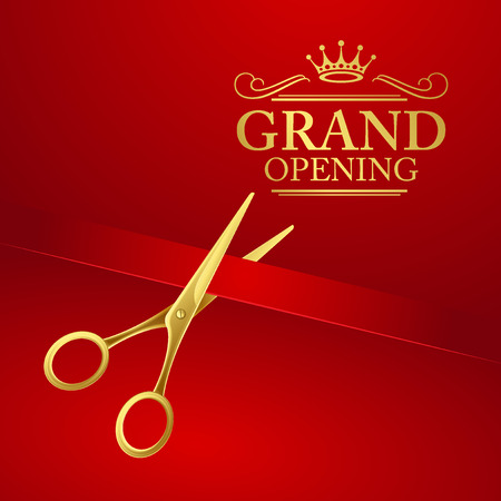 pair of scissors: Grand opening illustration with red ribbon and gold scissors