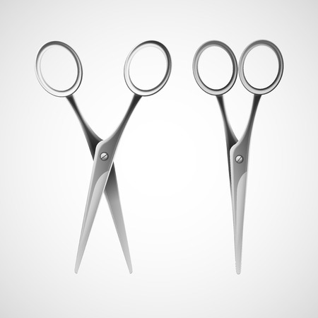 scissors icon: Silver scissors isolated in white background. Vector illustration