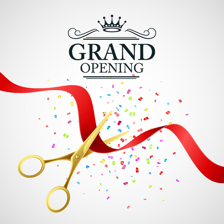 scissors: Grand opening illustration with red ribbon and gold scissors
