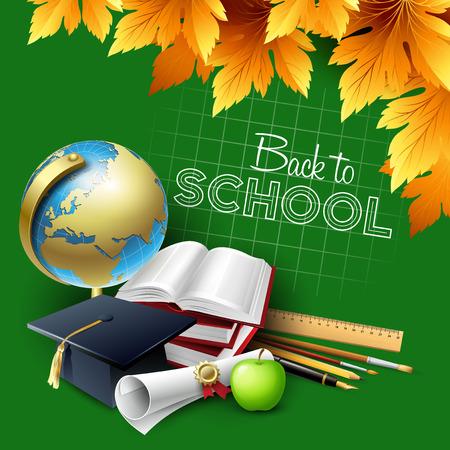 school supplies: Bienvenue � l'�cole. Vector illustration