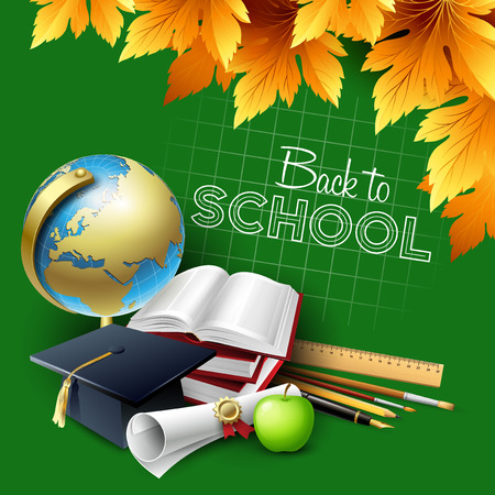 supplies: Welcome back to school. Vector illustration