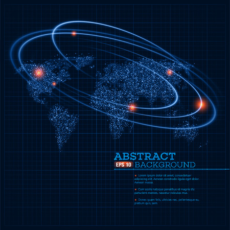 world map illustration with glowing points and lines.