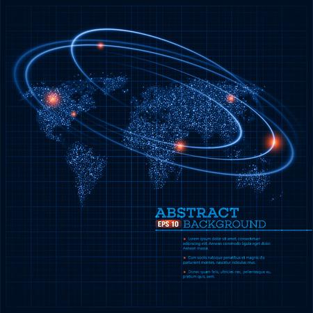 wereld kaart afbeelding met gloeiende punten en lijnen. Stock Illustratie