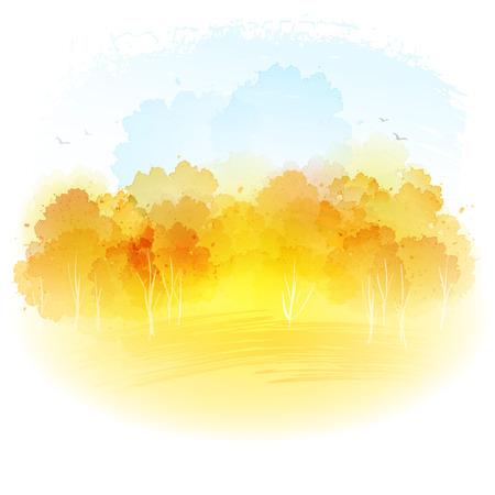 Watercolor autumn landscape.  Vettoriali