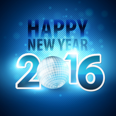discoball: Happy New Year 2016 colorful disco lights background.