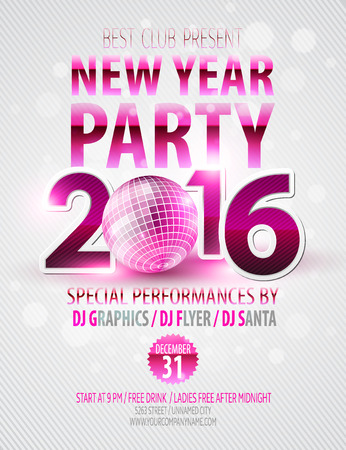party flyer: Happy New Year party poster.