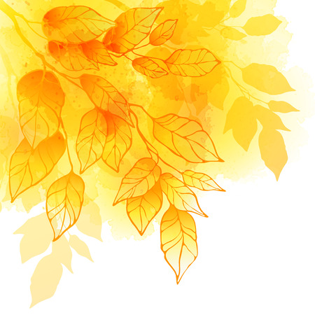Fall leafs watercolor background Stok Fotoğraf - 43309649