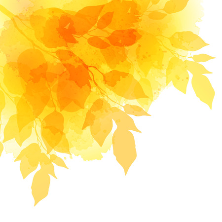 grunge tree: Fall leafs watercolor vector background