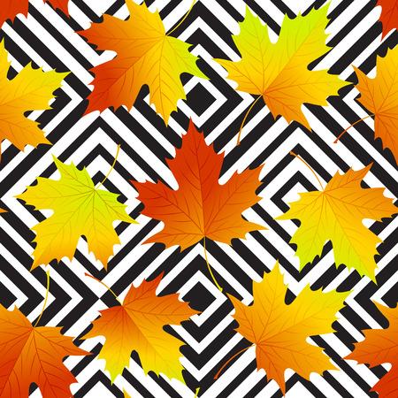 Autumn leaves seamless background, geometric pattern.  Illustration