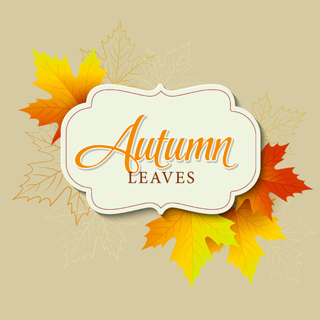 brown background: Autumn typographic. Fall leaf.  Illustration
