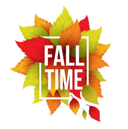 fall: Autumn typographic. Fall leaf.  Illustration
