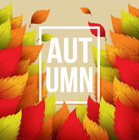 typographic: Autumn typographic. Fall leaf.  Illustration
