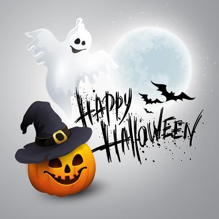 calabazas de halloween: Fondo del partido de Halloween con la calabaza y la Luna en la parte posterior. Vectores