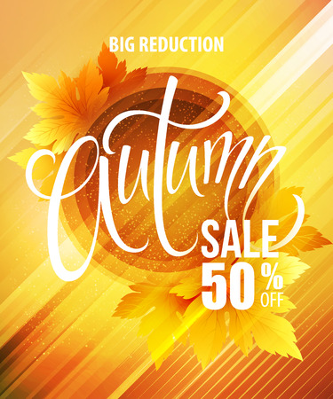 big sale: Big fall sale poster design.  Illustration