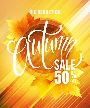 Big fall sale poster design.  Illustration