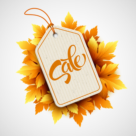 seasonal: Autumn seasonal sale label.