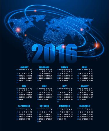 calendario julio: Calendario para 2016 sobre fondo abstracto.