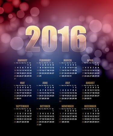 october calendar: Calendar for 2016 on abstract background. Illustration