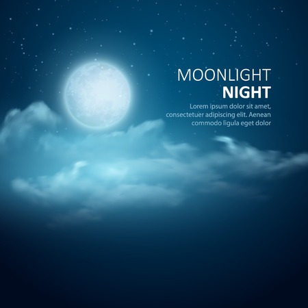 Nacht Vektor Hintergrund, Mond, Wolken und leuchtende Sterne auf dunklen blauen Himmel.