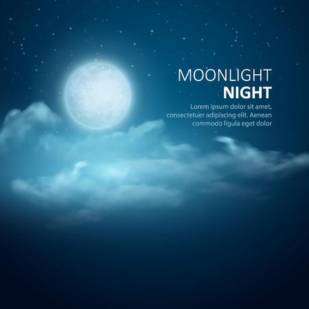 blau: Nacht Vektor Hintergrund, Mond, Wolken und leuchtende Sterne auf dunklen blauen Himmel.