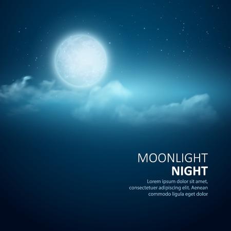 Noche de vectores de fondo, la Luna, las nubes y las estrellas brillantes en el cielo azul oscuro.
