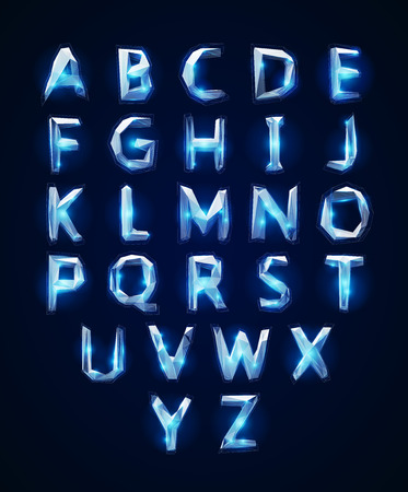 cristal: Low poly cristal alphabet font. Vector illustration  Illustration
