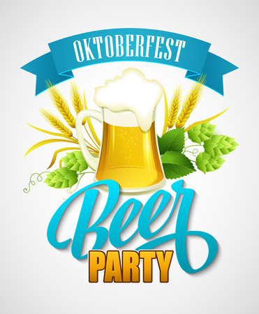oktoberfest background: Oktoberfest Background with Beer. Poster template. Vector illustration